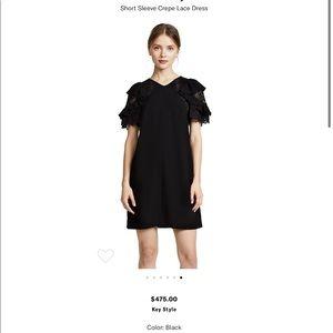 EUC RebeccaTaylor 10 Short Sleeve Crepe Lace Dress